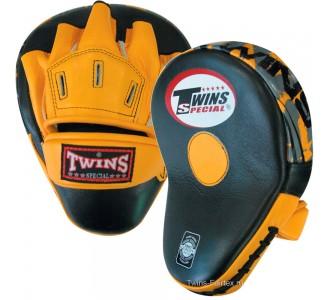 Боксерские ударные лапы Twins Special (PML-10 black-yellow)