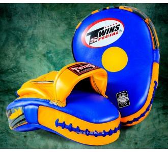 Боксерские ударные лапы Twins Special (PML-10 blue-yellow)