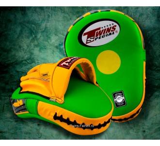 Боксерские ударные лапы Twins Special (PML-10 green-yellow)