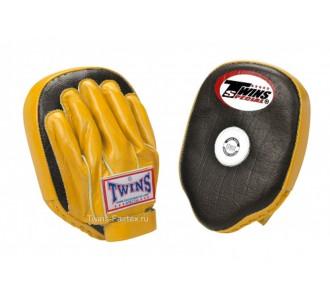 Боксерские ударные лапы Twins Special (PML-2 black-yellow)